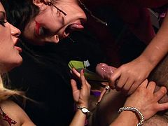 Jasmine Black and Gemma Massey seduce a man for a hardcore fuck