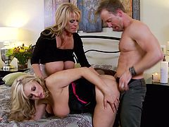 Dayna Vendetta and Kelly Madison interrupted by a man for a threesome