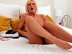 Blonde MILF plays with herself