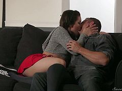 Hot blooded girl Kimber Woods rides her boyfriend's dick and sucks it greedily