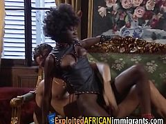 Seductive ebony bitch is moaning loudly as she takes in two fat throbbing sausages into her delicious holes which stretch them really good providing a tasty creampie.