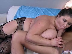Then gets her pussy fucked deep and good with a hard cock in various positions She takes cum in her mouth