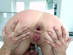 Curved upwards boner for a redhead stunner Eva Berger to chew