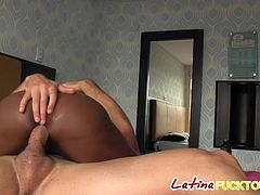 Sucking every inch of his delicious cock made her pussy wet so she decide to ride him mercilessly until he cums
