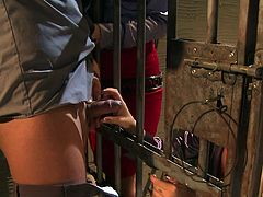 Prison threesome with Jessica Moore who is insanely cock-hungry