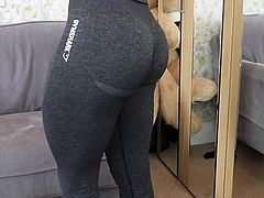Girl with great thighs and ass trying leggings (non-nude)