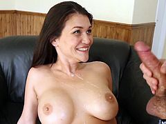 Shen she sees how big his dick is, Kianna cant help but want to feel it, herself Its been a long time since this cougar had any fresh meat, so she wraps her lips and hands around his thick shaft and pumps him to orgasm all over her huge tits