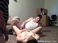 This is a horny and kinky homemade threesome action. Husband face fucks her wife as she lays down on the floor, while their family friend eats and fingers her hungry snatch.