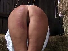 Double  Caning in the hay barn!