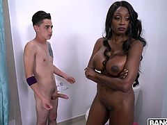 Oversexed ebony mommy Diamond Jackson gets intimate with her white stepson