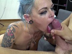 Sizzling bitch with many tatts and pierced tongue Onix Babe