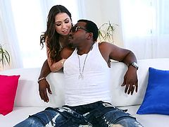 Look at her neatly trimmed bush. It looks so fuckable. But she only likes big black cocks. The naughty beauty wraps her lips around that massive black member and gives a sloppy blowjob. He licks her sweet snatch.