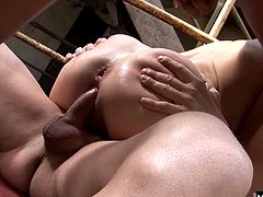 Her big tits are shaking, while her mouth is taking cock deep inside as well as her ass.