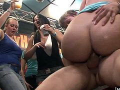 Check out the chic with the blonde hair, whos taking a ride on one of the male strippers hard cock, while hes busy squeezing her huge, jiggling bubble butt, as the brunette is now sucking her second dick.