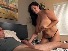 Seeing men with big cocks spurt loads of cum on her natural boobs makes this mom's day perfect. But this poor guy gets his cock punished big time by the crazy lady. She lets him titty-fuck and shoot his seeds on her juggs.