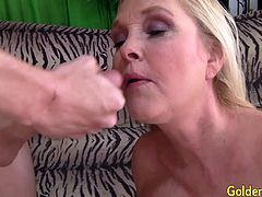 Mature blonde slut gets kissed by a skinny guy She gives a nice blowjob Then she gets her pussy pounded deep and good He cums in her mouth