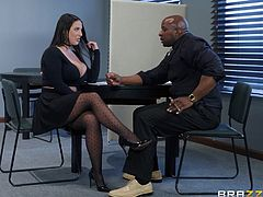 It looks like a guide to action for those women who want to get a promotion at work. Just repeat after this busty milf: get your boss's cock out of his pants and suck on it. Voila... and now you have become the head of the department!
