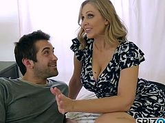 Julia Ann fucks her stepson in bed
