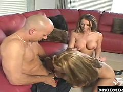 This is very hot porn scene where bald aged man is fucking two students of college. Girls are very hungry to be fucked hard today.
