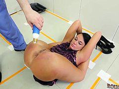 Full latex bondage and rough slap happy first time Talent