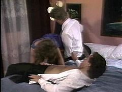 Facial for salacious Amber Lynn after a lustful MMF threesome