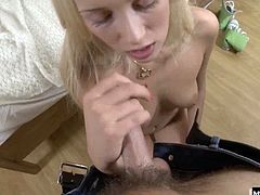 She pokes a tiny sex toy inside, as she reaches her first orgasm. Next, this guy holds one leg up and slips his dick into her moist pussy with relative ease, fucking her until she shows you her oozing creampie.