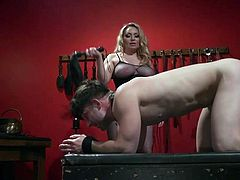 This busty blonde milf, Aiden Starr, knows how to make any guy to cry from pain and pleasure. She loves to dominate and to use her punishing whip, to make her miserable sex slaves to ask for her mercy. Join and enjoy kinky bdsm action!