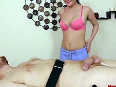 This young and cute massage girl does not like perverted guys who always come in looking for full package massages. Whenever her clients ask for a happy ending, she takes things under her control to offer it her way. Today when this guy asked for such, she straps him down on massage table and ties his cock before giving him a painful handjob. She keeps denying his orgasm again and again..
