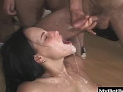 Now her fantasies are about to become reality. Imagine watching that creamy ass getting tapped by a roomful of guys. Her mouth is getting pounded by dicks, her pussy is stretched wide open, and her ass is getting reamed. And all that cum