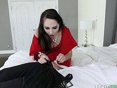 Sexy lady in red dress Nickey Huntsman allows to penetrate her butt hole