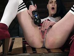 The massive vibrator gives her an orgasm like she has never had in her life before. She is shaking and moaning so loudly, as the hitachi presses against her clit. She wishes she had a man to make her cum, but this huge machine will have to do for now. Anyhow, a man couldn't make her cum like this.