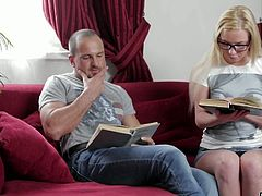 Pretty hot blonde Angie Koks discovers all the wonders of anal sex