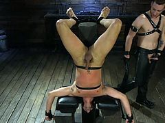 While being placed in a special bondage device, upside down and absolutely naked, Cesar Xes was brutally whipped and face fucked. Want to see more details? Join Bound Gods and enjoy gay bondage and hardcore sex with hot studs.