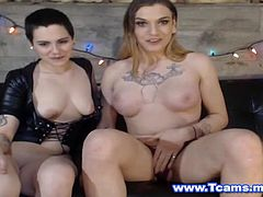 A hot couple with a busty and big cock shemale and a nice shaved pink pussy lesbian who is a boyish one. Watch this couple teasing each other to make the fantasy of their viewers come true. Look at that shemale big cock and be amazed when its got hard by this lesbian babe who gives a nice hand for her hot shemale partner.