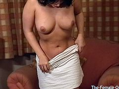 Horny and curvy Jasmine de Launay first tries standing up and masturbating but found that she needed to squat with a vibrator to be able to reach a creamy wet pussy orgasm.