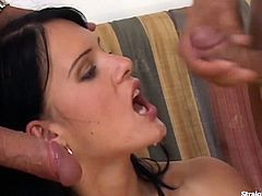 Amber Rayne warms up her pussy and ass using a glass dildo making it wet for an easy cock entry. Comes in two hard cocks taking turns fucking her sweet juicy anal. Facial cumshot in the end.
