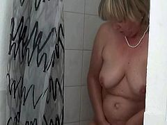 Granny taking a shower