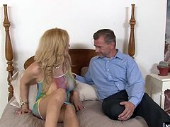 When shes gangbanged by her boyfriend, his gay boss, and her secret lover They all walk in on her servicing cock, her huge tits on full display and her own tranny tip sticking the boss in his rear, and join up to treat themselves to a 4way cum shower.