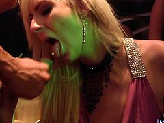 These girls are one hundred percent cock crazed. Watch as they show off in front of each other, demonstrating their cock sucking and riding skills. Theres more than just grinding going on at this club, ladies and gents