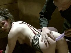 Stranger grabbed her and took off her clothes, while placing her in BDSM bondage, so he could poke sex toys up her bubble butt, before fucking her tight asshole in many different positions until giving her an ass to mouth facial cumshot.