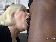 Younger black guy fucks British Granny in her old asshole