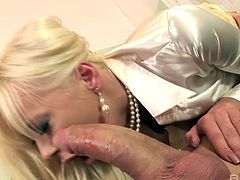 Slutty doctor Teena Lipoldino riding one cock while sucking another