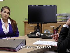 Something was wrong since the very beginning of this loan proposal. This girl wanted to earn some money for a new car, but the money amount wasn't enough even for used and old one. Loan manager tried to find out what's going on from their conversation, but the girl was insisting that all information is correct. Apparently, her papers were rejected and she then decided to tell him the truth. Mischel needed the money to pay for her plastic surgery. Her boyfriend who promised to help her, but left her without cash, and she was in trouble. But since she got new breasts already and had no boyfriend