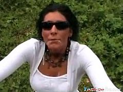 A homemade video compilation featuring a mature mexican woman sucking and taking the cum of her man in different places.