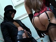 Cathy answers only to be greeted by two throbbing cocks presented to her by guys in leather chaps. These delivery men are ready to show her cunt and ass who the boss is as they successfully deliver their package a creampie to her ass