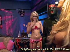 Amazing blonde Alexis Texas And Shyla Stylez gagging and fucking a monster cock