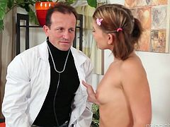 Pigtailed student from Czech Republic Rihanna Samuels is fucked by perverted doctor