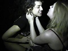 Its the middle of the night, and these horny lesbians are tired of bottling up their lust for each other. Watch Star lean against a tree as Bianca gives her passionate oral sex.