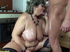 horny bbw mom gets rough pumped and deep anal fucked at her first extreme porn lesson