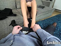 Shona River loves to put her feet to work. See as she works had to please that huge dick.